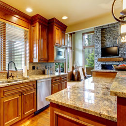 Large Kitchen and Fireplace